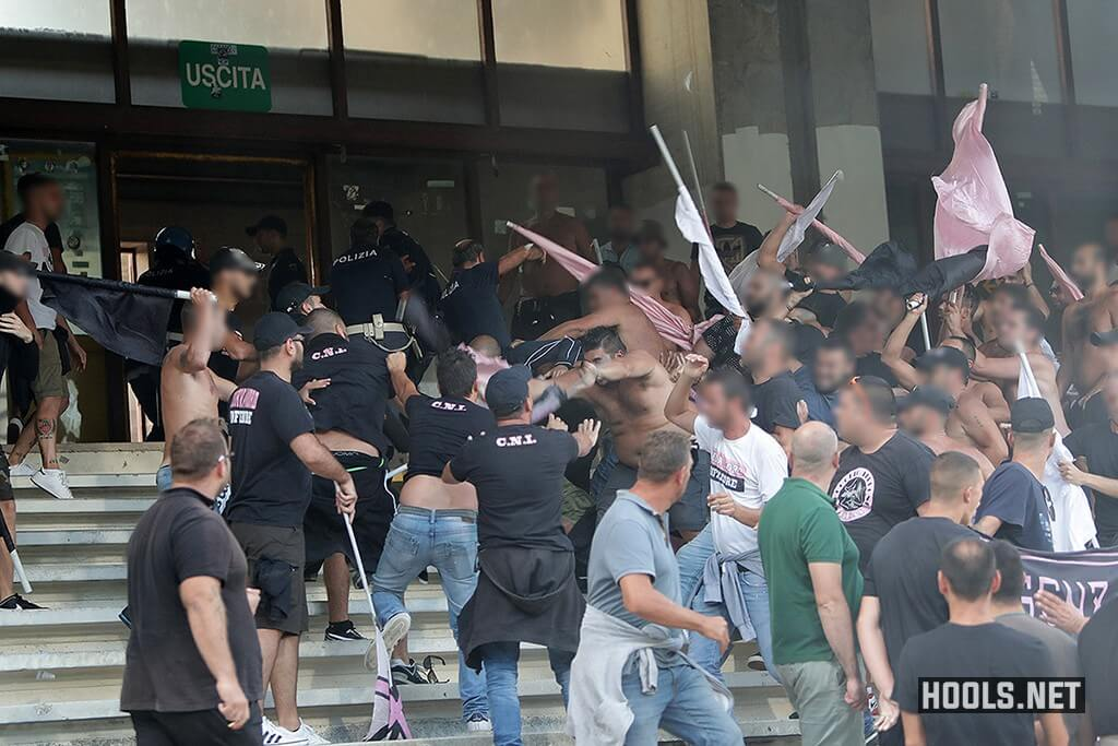 Palermo fans fight among themselves inside the Arechi Stadium during their Serie B match against Salernitana.