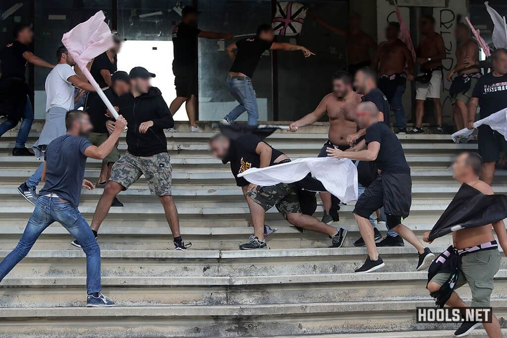Palermo fans fight among themselves in the stands during their Serie B match against Salernitana.