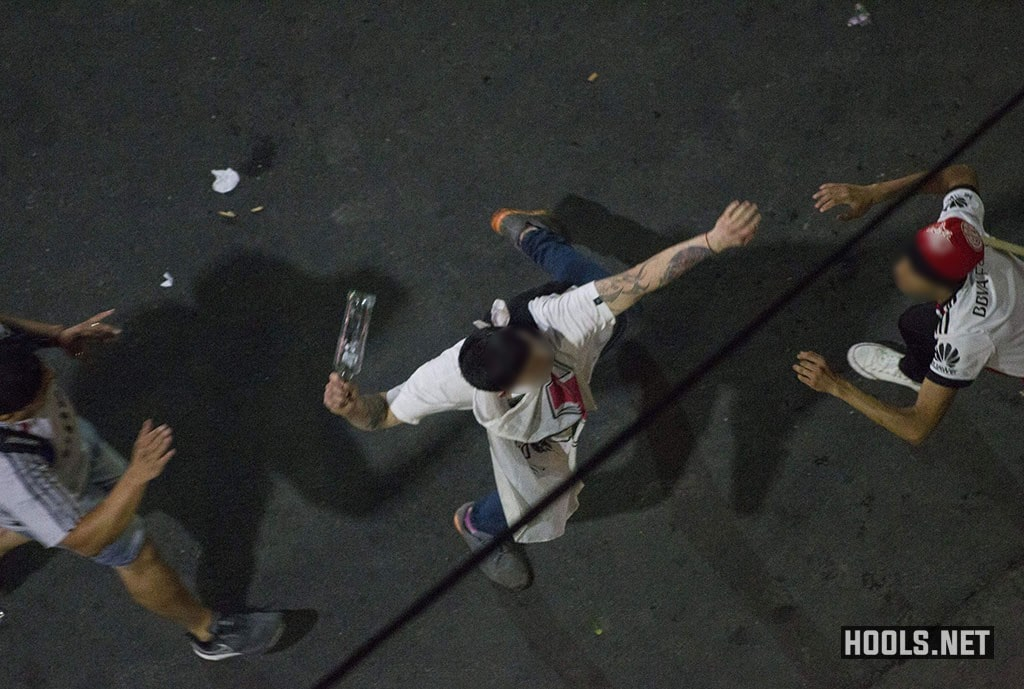 River Plate fans clash riot police in Buenos Aires