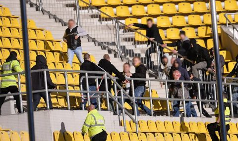 Alemannia Aachen v RW Essen: Fans clash in the stands during match