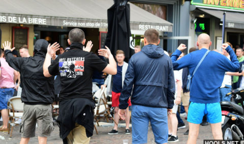 England and Wales fans clash with Russians in Lille 14.06.2016