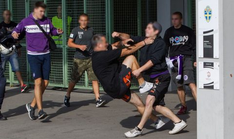 Austria Vienna and Spartak Trnava fans clash before Europa League match