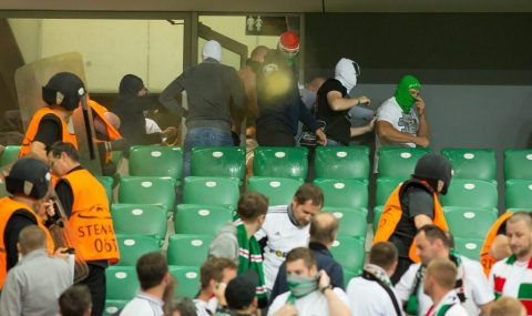 Legia hools clash with stewards during Champions League game