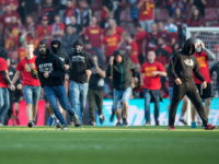 Sparta Prague fans storm pitch following defeat to Slavia Prague
