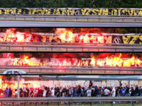 Ruch Chorzów hools block traffic to burn giant GKS Katowice flag