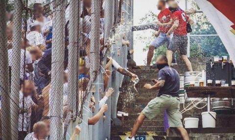 Fans clash at Zbrojovka Brno v Baník Ostrava match