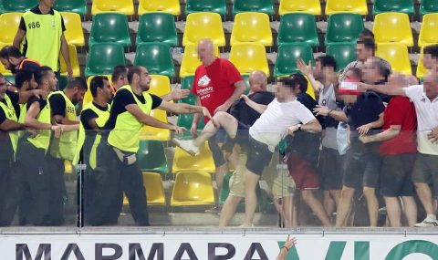 Aberdeen fans clash with stewards and riot cops after match in Cyprus