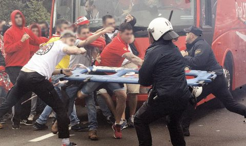 Sporting Gijon fans clash with police before Real Oviedo game