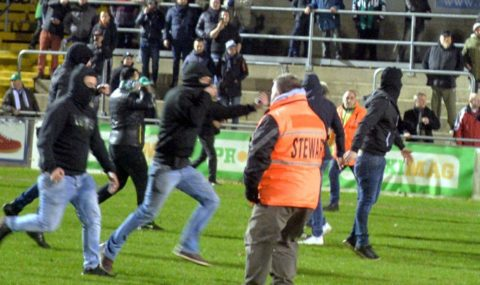 RAAL La Louvière fans attack rival fans after defeat