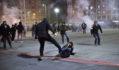 Athletic Bilbao and Spartak Moscow fans clash before Europa League tie