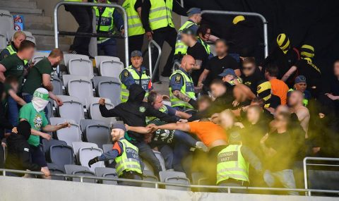 Fight breaks out between Hammarby and AIK fans at Tele2 Arena