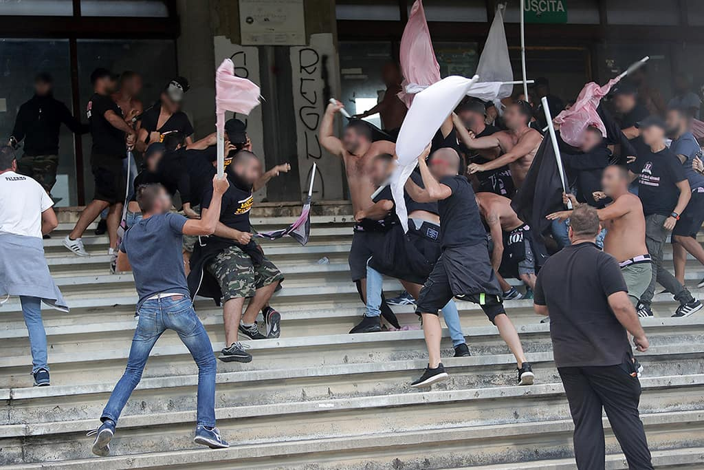Palermo fans fight in the stands
