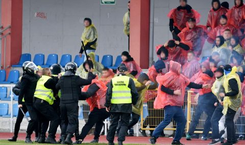 Polish Cup: Trouble flares at Wisla Sandomierz v Korona Kielce game