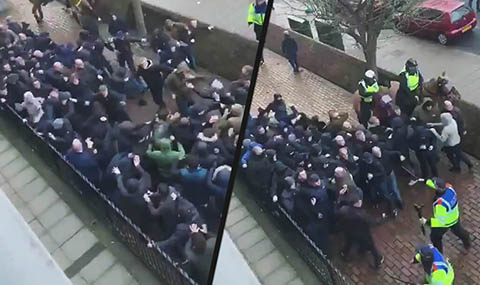 Millwall and Everton fans clash ahead of FA Cup tie