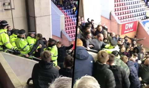 Bolton fans clash with cops at DW Stadium