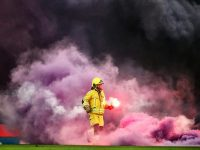 Standard Liege v Anderlecht abandoned as fans throw flares on pitch