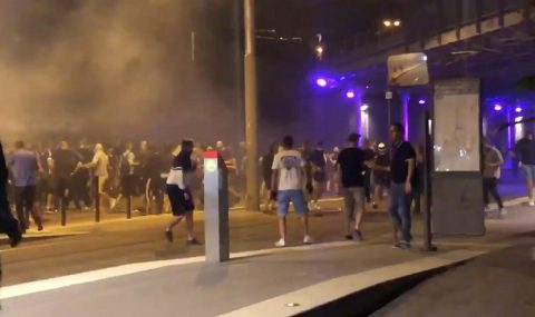 Strasbourg and Eintracht Frankfurt fans clash after Europa League match