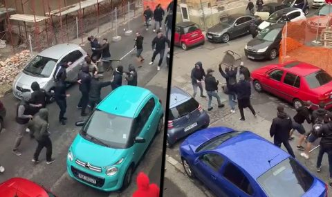 ASU Poli and Dinamo Bucharest fans clash in street brawl