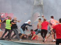 Tirana and Partizani fans fight ahead of match
