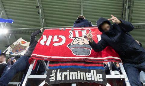 Valerenga fans pinch Brann flag before kick-off