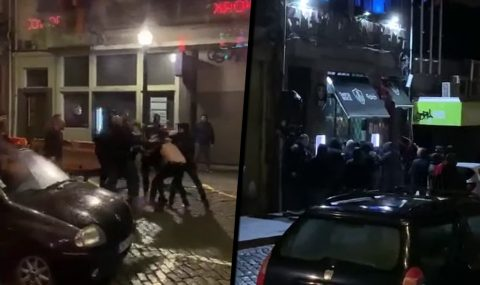 Wolves fans attacked by Standard Liege hooligans in Porto