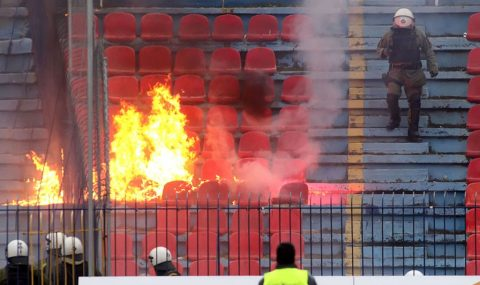 Panionios vs Atromitos: Trouble breaks out in stands after final whistle