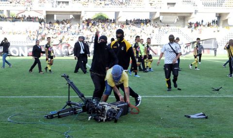 Coquimbo Unido fans stage protest on pitch during match with Audax Italiano