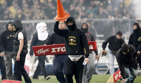 30 April 2011: AEK fans clash with police following Greek Cup win