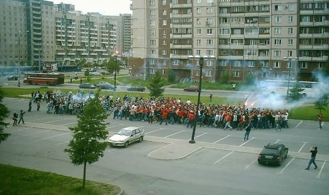 Zenit St. Petersburg and Spartak Moscow hooligans clash in a pre-arranged fight before a Russian Premier League match between the two teams.