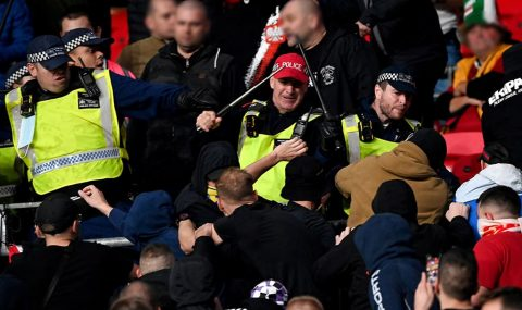 Hungary fans clash with police at Wembley during their side's World Cup 2022 qualifier against England.